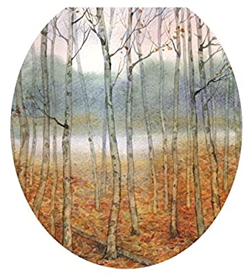 Toilet Tattoos, Toilet Seat Cover Decal, Foggy Forest Trees, Size Round/standard