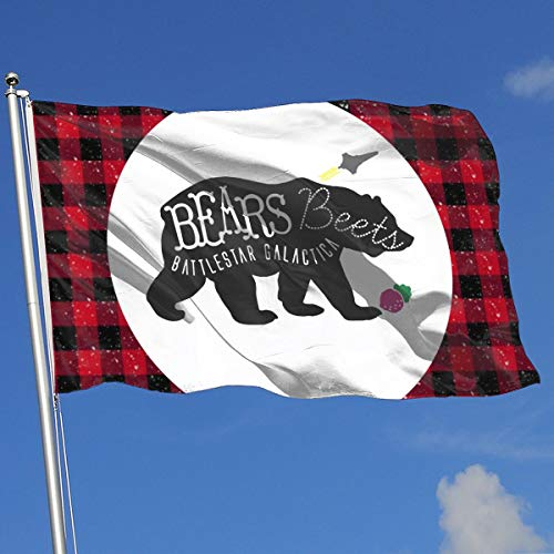 (Bears Beets Battlestar Galactica Banner Flag Funny Garden Home Flag Spring Summer Decorative Flag 3'X5' House Banner Flag)