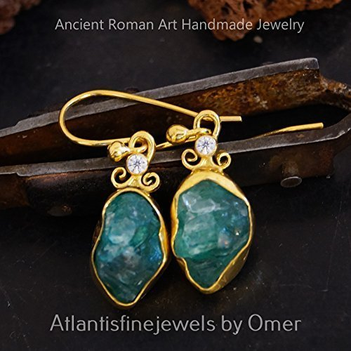 ROMAN ART ROUGH BLUE APATITE DESIGNER EARRINGS BY OMER 24K YELLOW GOLD OVER 925 SILVER ()