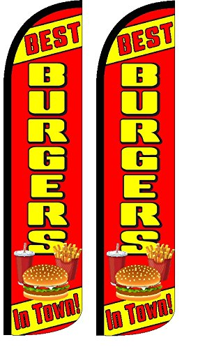 Best Burgers in Town Windless Standard Size Polyester Swooper Flag Sign Banner Pack of 2