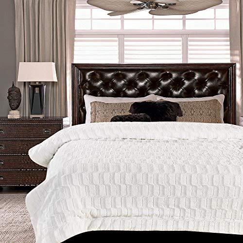 - Chanasya Super Soft Fuzzy Faux Fur Elegant Rectangular Embossed Throw Blanket | Fluffy Plush Sherpa Microfiber Blanket for Bed Couch Living Room Fall Winter Spring King Blanket - White