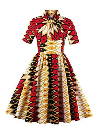 HOMEY INN Women's Elegant Knee Length Flare Bowknot Vintage Swing (Sheer Vintage Skirt)