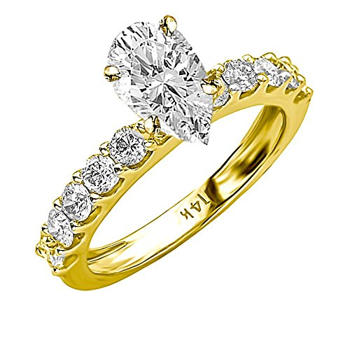 14K Yellow Gold 2.4 CTW Classic Side Stone Prong Set Diamond Engagement Ring w/ 1.5 Ct GIA Certified Pear Cut F Color VS2 Clarity Center