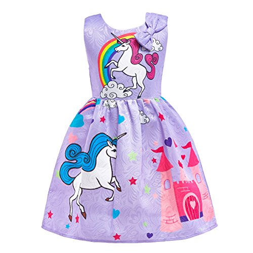 Dressy Daisy Girls My Little Pony Dress Costumes Rainbow Unicorn Costumes Fancy Dress up Size 6 Purple -