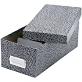 """Oxford Reinforced Board 5"""" x 8"""" Index Card Storage Box with Lift-Off Cover, Black/White Agate (40590EE)"""