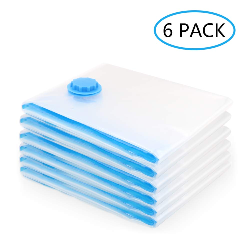 Mountain Forged Vacuum Storage Bags (Jumbo 6 Pack) 78% More Compression (30x40 inches) Space Saver Bags for Clothes, Comforters, Pillows, Bedding, Travel