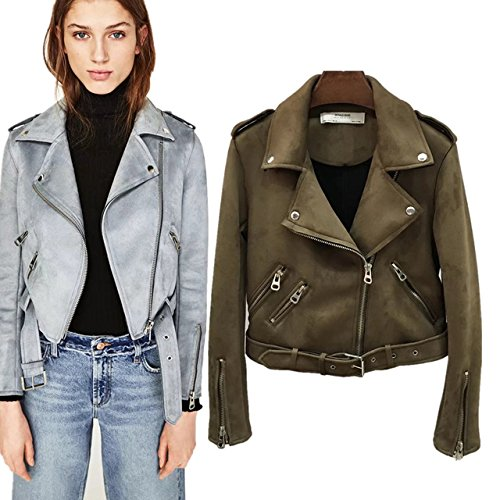 30fa017076 Allure closet Women's Suede Motorcycle Jacket Belted Coat with Zipper-Green  Olive Color Jacket: Amazon.in: Clothing & Accessories