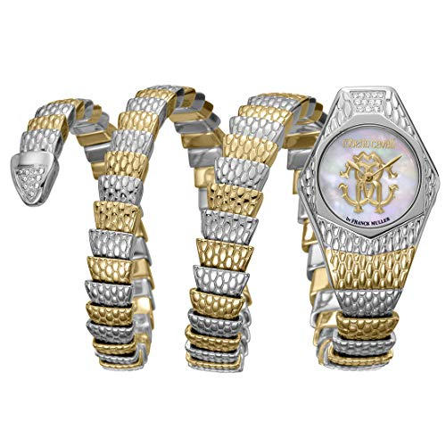 Ladies Franck Muller - Robert Cavalli by Franck Muller Swiss Made Women's RV2L021M0066 Avvolgere Diamond Swiss Quartz Gold Tone Bracelet Watch
