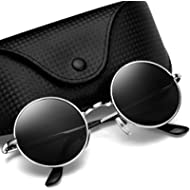 [Sponsored]Argus Le Lennon Retro Round Sunglasses, Vintage Polarized Hipple Glasses with Plain Lens