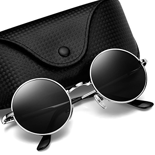 Argus Le Lennon Retro Round Sunglasses, Vintage Polarized Hipple Glasses with Plain - Village University Shopping