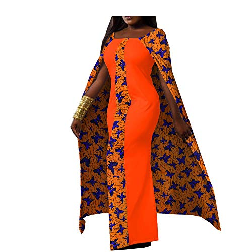 2019 Spring African Cloak Dresses for Women Square Collar Ankle Length Fashion with Long Cloak 476 5 4X ()