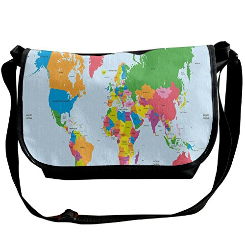 Kmeiqufan Classical Colorful Map Of World In Political Style Travel Europe America Asia Africa Decorative Unisex Wide Diagonal Shoulder Bag Adjustable Single Shoulder Backpack by Kmeiqufan