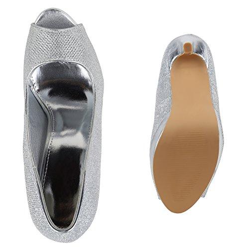 Stiefelparadies Damen Plateau Pumps Lack Peeptoes Stiletto High Heels Party Schuhe Glitzer Absatzschuhe Abiball Flandell Silber