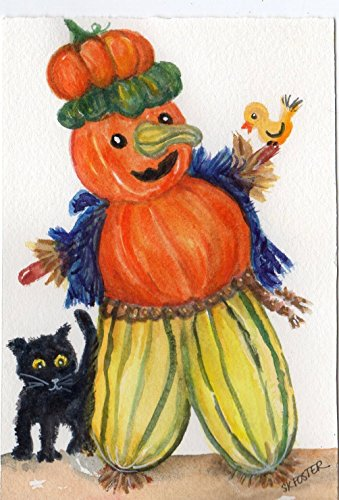 Halloween decor, Scarecrow original watercolor painting, black cat, jack o lantern Halloween decor