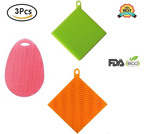 Price comparison product image Antibacterial Silicone Sponges New Design Improved Not Stick Heat Resistant Dishwashing Brush Scrubber for Kitchen Supplies Multi Purpose Fruit Household Cleaning 2 square 1 oval Sponge (Pack of 3)
