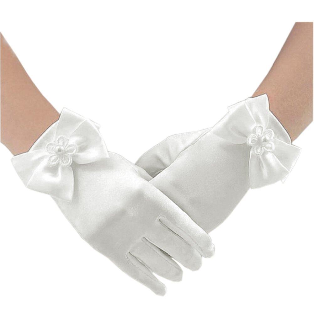 Short Flower Girls Gloves for Wedding Satin Gloves for Girls Princess Gloves (White)