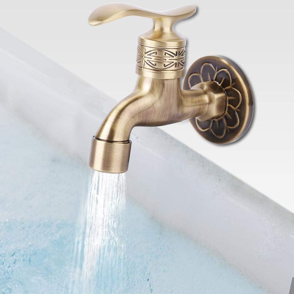 Wandmontage Waschwasserhahn Einzel Kaltwasserhahn f/ür Badezimmer G1 ViaGasaFamido All-Kupfer Antike Waschmaschine Wasserhahn 2