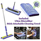 Nano-Knockout ULTRA MICROFIBER Floor Mop - Deep Clean Damp Mop - Includes Telescopic Extension Pole - Light Weight - Strong Durable + Stick-Attachable TOWEL - JUST ADD WATER No Detergents Needed