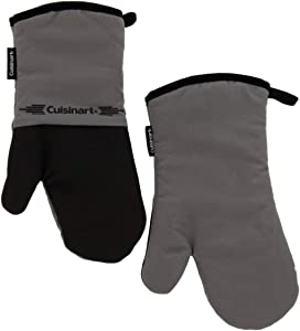 Cuisinart Neoprene Oven Mitts, 2pk - Non-Slip Heat Resistant Gloves Protect Hands and Surfaces from Hot Cookware, Bakeware, Kitchenware Items - Ideal Kitchen Set with Hanging Loop - Grey with Black