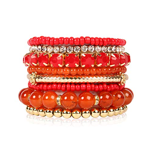 RIAH FASHION Multi Color Stretch Beaded Stackable Bracelets - Layering Bead Strand Statement Bangles (Original - Coral Orange, 7) ()