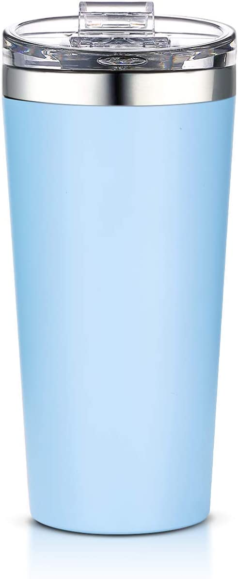 AA Products 16oz Tumbler-Vacuum Insulated Double-Walled 18/8 Stainless Steel Travel Coffee Mug For Cars, Home,Office,School-Azure