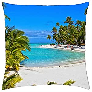 Pearl–Tuamotus Atolón Polinesia francesa de playa manta funda de almohada (18