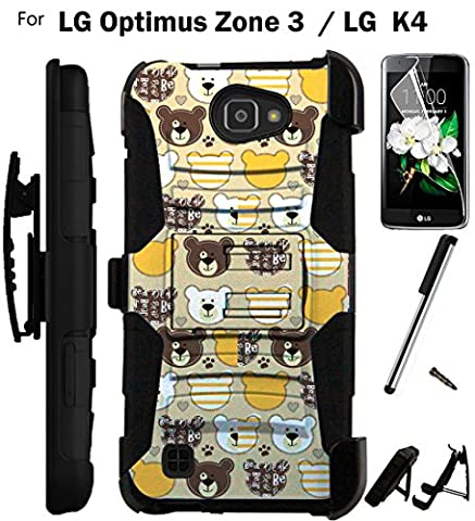 For LG Optimus Zone 3 Phone Case (Verizon) Armor Hybrid Rugged Silicone Cover Kick Stand LuxGuard Holster+LCD Screen Protector+Stylus (Teddy (Lg Optimus Cell Phone Holster)