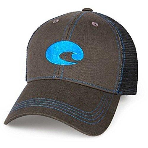 Costa Del Mar Neon Trucker Graphite/Neon Blue New 2017 - Costa Hats For Men