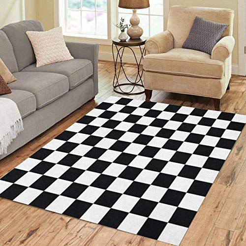 Pinbeam Area Rug Checker Black and White Checkered Abstract Pattern Table Home Decor Floor Rug 3' x 5' - Area Checker Rug