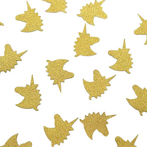 NICROLANDEE 50g/Pack Unicorn Confetti Gold Glitter Card Paper Confetti for Unicorn Party Supplies Table Scatter Decor Unicorn Party Birthday Baby Shower Favors