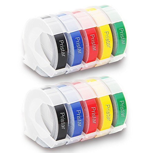 Pristar Replacement Dymo 3D Plastic Embossing Tapes for Embossing Label Makers, 3/8