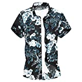 Gibobby Hawaiian Boys Casual Summer Printed Graphic Shirts Button Down Shirs for Men Short Sleeve T-Shirt Tops for Holiday Blue