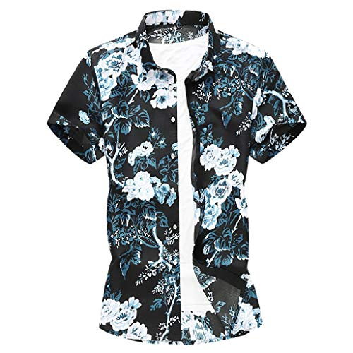 (Toimothcn Aloha Shirts Men Short Sleeve Casual Tropical Printed Button Down Hawaiian T-Shirt Top)