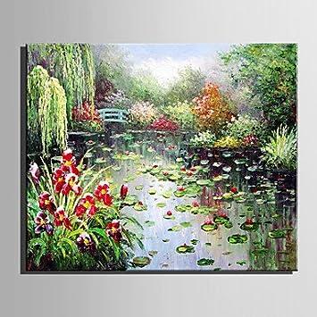HY&GG Pintura Al Óleo Estanque De Jardín Moderno Paisaje Puro Sin Cerco Dibujar A Mano La Pintura Decorativa,Sin Marco Interior,7