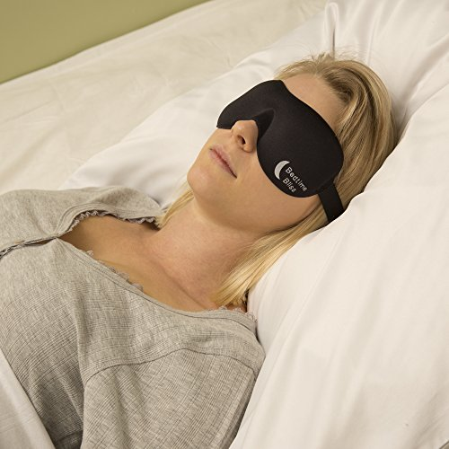 Bedtime Bliss Sleep Mask Contoured & Comfortable with Moldex Ear Plug Set. Includes Carry Pouch for Eye Mask and Ear Plugs - Great for Travel, Shift Work & Meditation (Black)