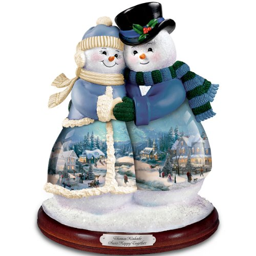 Thomas Kinkade Musical Snowman Figurine: Snow Happy Together by The Bradford Exchange