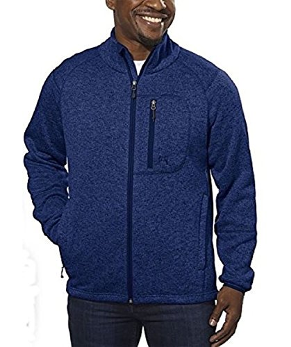 hton Outdoor inspired Full Zip Fleece Sweater Jacket Mariner Blue (XX-Large) (Left Chest Logo Pullover Jacket)