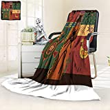 Decorative Throw Duplex Printed Blanket in African Style Dance Depicting The Tribe |Home, Couch, Outdoor, Travel Use/47 W by 69'' H