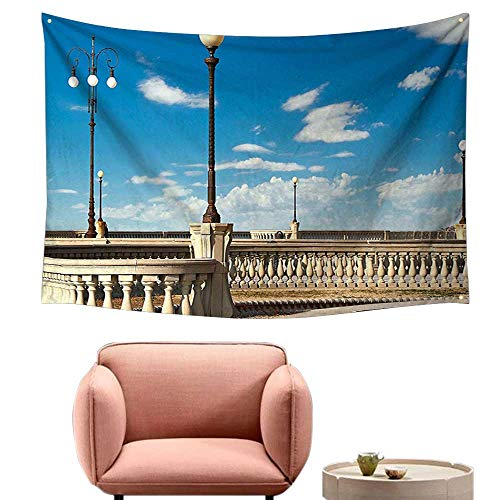 (alsohome Tapestry for Bedroom Cool Wall Tapestry Mascagni Terrace Street Promenade of Livorno Tuscany Print Sky Blue White and Black 84