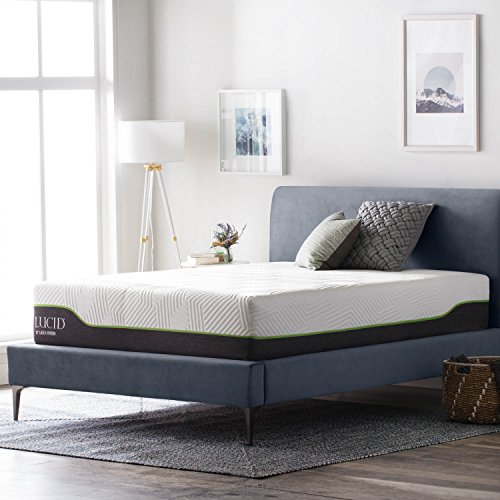 LUCID 12 Inch Queen Latex Hybrid Mattress - Memory Foam - Responsive Latex Layer - Premium Steel Coils - Medium Firm Feel - Temperature (Latex Bed)