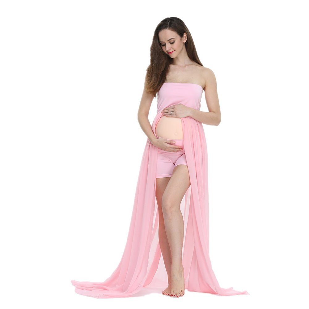 D& J Chiffon Gown Split Front Strapless Maternity Photography Dresses(without shorts) DJD000506CA