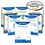PrintWorks Back to School Paper Bundle, Teacher Supplies for Classroom: 3 Reams Multipurpose Paper, 1 Pack Each of Bright and Pastel Colored Paper and Cardstock, White Cardstock, (00591)