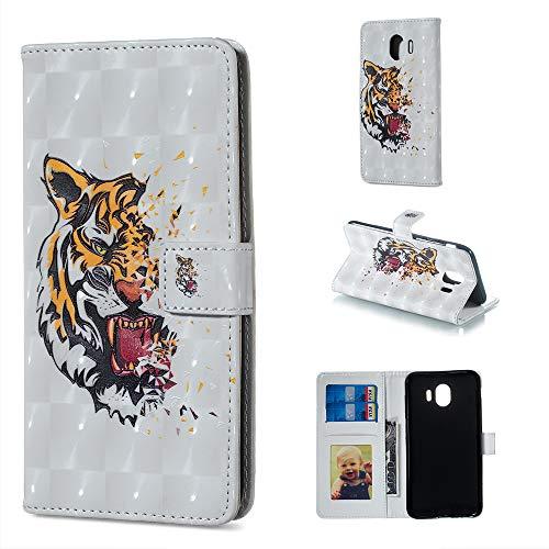 Coquecase Libro A 3d Stile Tigre Premium Pu Per Portafoglio Cuoio Schede Samsung Magnetica Glitter Custodia 2018 J4 Galaxy Cover Case Supporto Slot Wallet Leather Cinturino r1UqHr