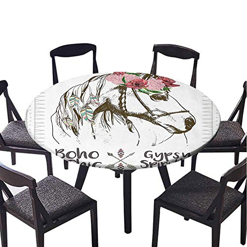 - SATVSHOP Round table-30 Round-for Indoor, Outdoor,Animal Boho Chic Style Horse Head Sketch with Flowers Colorful Feathers Gypsy Spirit Brown Pink Green.(Elastic Edge)