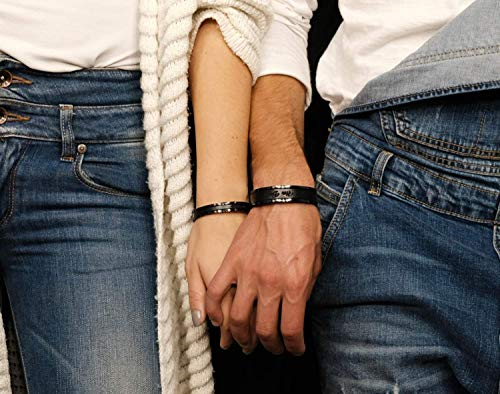 Personalized Matching Couples Cuff Bracelets Third Wedding Anniversary Gift with Leather Inlay His and Her Jewelry Black Tone ()