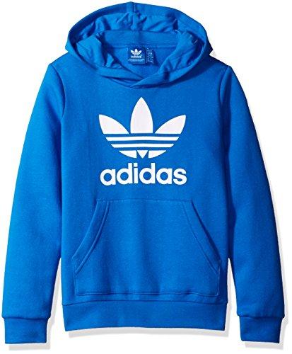 adidas Originals Outerwear Big Boys' Trefoil Crew Sweatshirt, Blue Bird/White, - Cotton Bird Sweatshirt