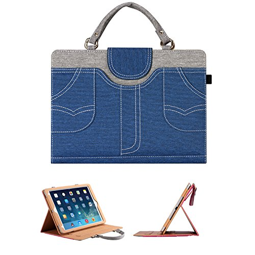 Price comparison product image New iPad 9.7 2017 Case / iPad Pro 9.7 Case / iPad Air2 Case / iPad Air Case - Albc For Woman Handbag Slim Fit Smart Cover with Auto Wake / Sleep Feature For Apple New iPad 9.7 2017 / Pro 9.7 / Air2 / Air (blue)