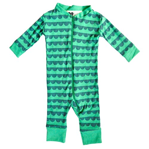 Cotton Baby Romper Suits - Made in the USA (6-12 months, Green Gator)