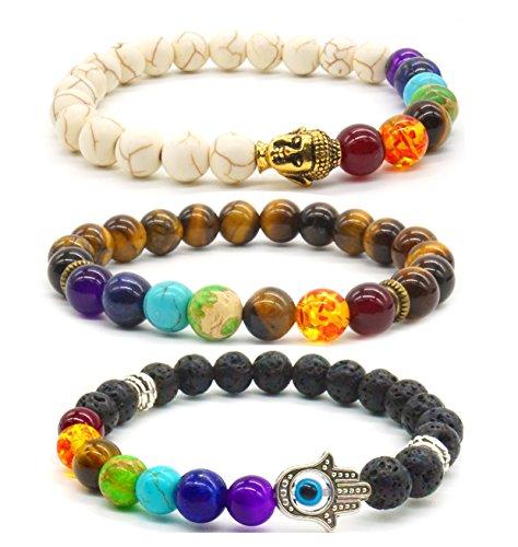 3x Buddha Bracelet Friendships Bracelet 7 Chakras Gemstone Lava Stone Bracelet Set (Gem Chakra)