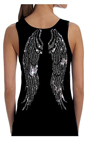 Rockeroo Boutique Angel Wings Rhinestone Bling Womens Tank Top Tee Shirt (M) Black -